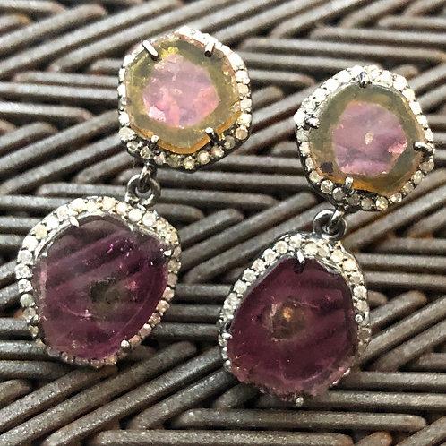 DIAMONDS, TOURMALINE earrings