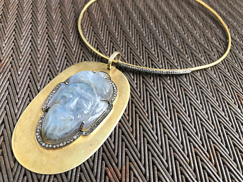 Buddha Moonstone Diamond Brass Pendant
