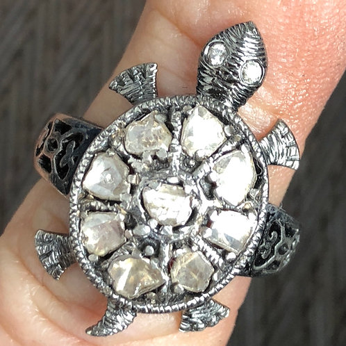 ROSECUT & PAVE DIAMONDS, SILVER