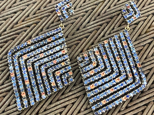 BLUE AND ORANGE SAPPHIRES, SILVER