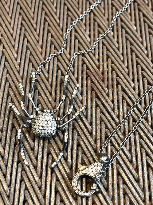 Diamond Spider Silver Necklace