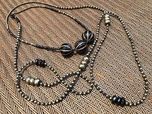 DOUBLE WRAPPED DIAMONDS, ENAMEL, PYRITE, ONYX, WRAPS TWICE AROUND NECK