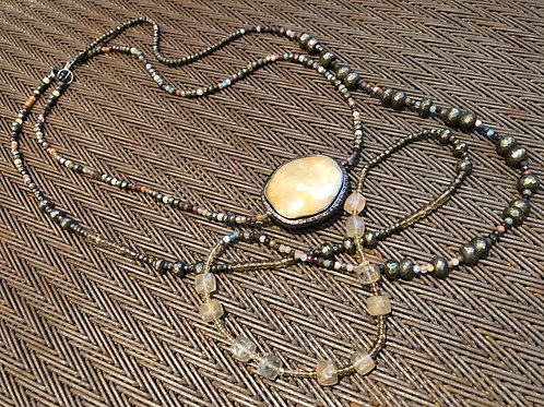 DOUBLE WRAPPED DIAMONDS, PYRITE, CITRINE, WRAPS TWICE AROUND NECK