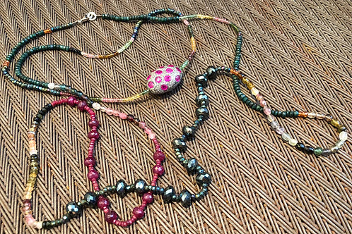 DIAMONDS, PINK SAPHHIRE, PYRITE, TOURMALINE Double Wrap