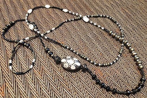 LABRADORITE, BLACK DIAMONDS, PYRITE, ONYX, QUARTZ