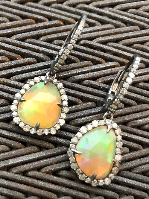 DIAMONDS, OPAL earrings silver