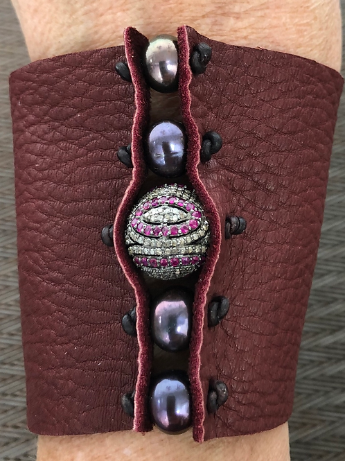 BURGUNDY LEATHER, DIAMONDS, PEARLS, SAPPHIRES