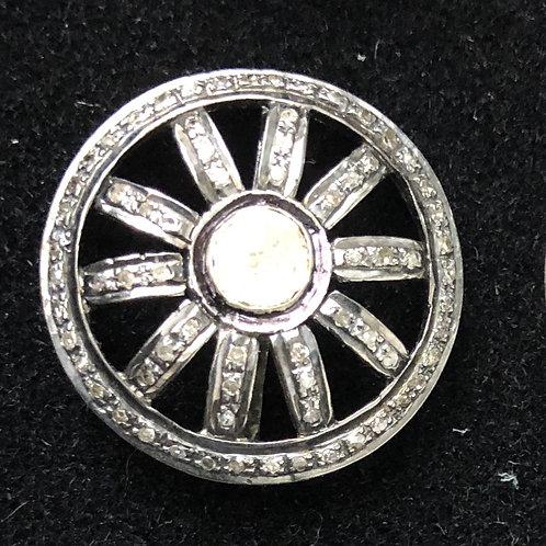 CUFFLINKS -  ROSECUT & PAVE DIAMONDS, SILVER