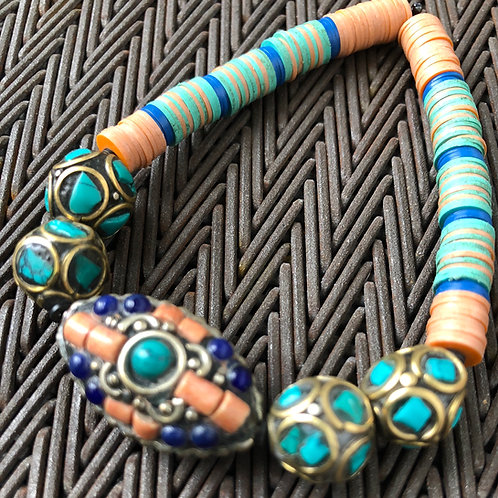 TURQUOISE, BRASS, LAPIS, CORAL,  VULCANITE