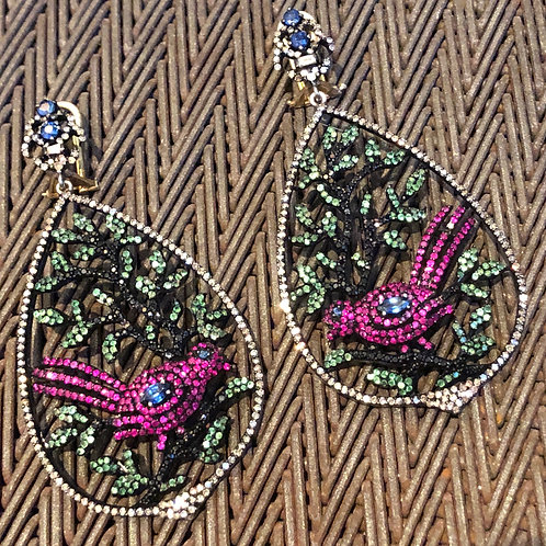 Diamond & Sapphire & Ruby Bird Earrings