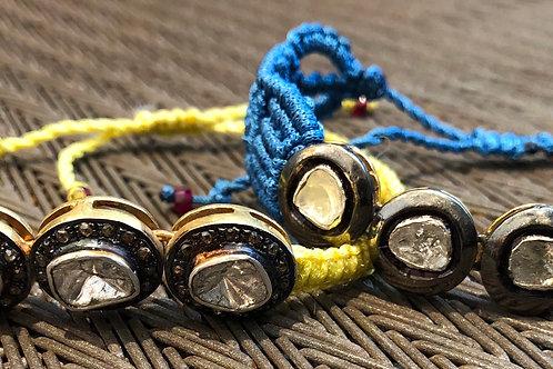 MACRAME BRACELET, ROSECUT & PAVE DIAMONDS. PRICED SEPARATELY