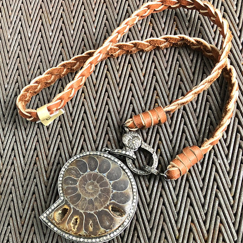 AMMONITE, DIAMONDS, LEATHER