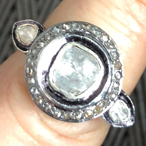 ROSECUT & PAVE DIAMONDS, SILVER