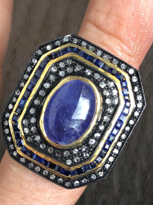 DIAMONDS, AMETHYST, SILVER,BLUE SAPPHIRES