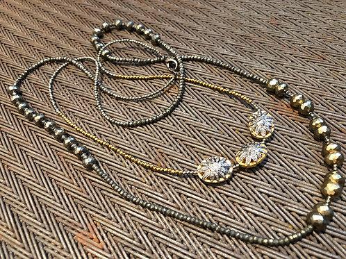 DOUBLE WRAPPED DIAMONDS, PYRITE, WRAPS TWICE AROUND NECK