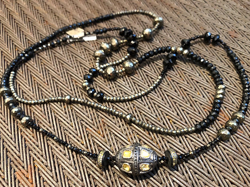 ROSECUT & PAVE WHITE & BLACK DIAMONDS, PYRITE, ONYX