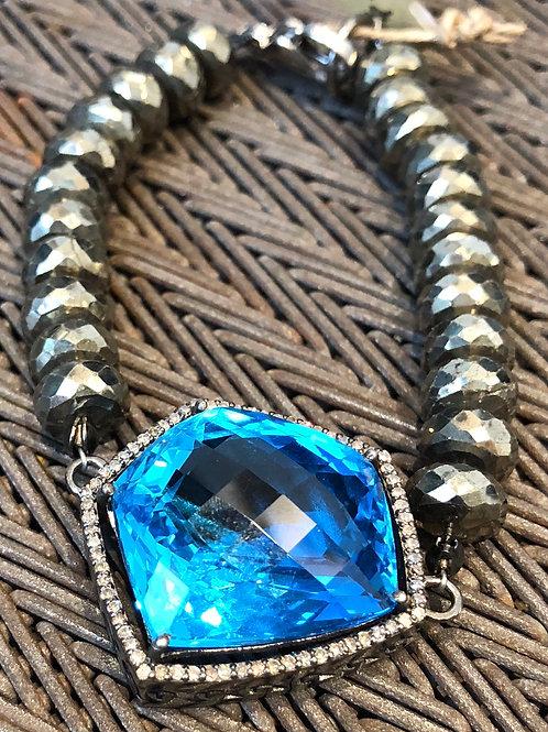DIAMOND, BLUE TOPAZ, PYRITE