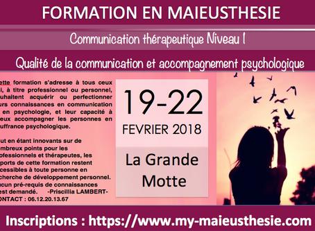 FORMATION en MAIEUSTHESIE Montpellier - Du 19 au 22 février N1- Du 28 février au 03 mars 2018 N2