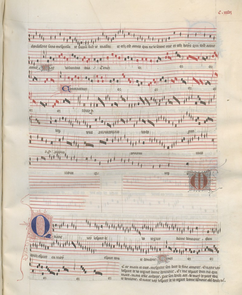Paris, Bibliothèque national de France MS E fonds fr. 9221. 135v-136r. Ma fin est mon commencement comprises the fourth through seventh system on this page.
