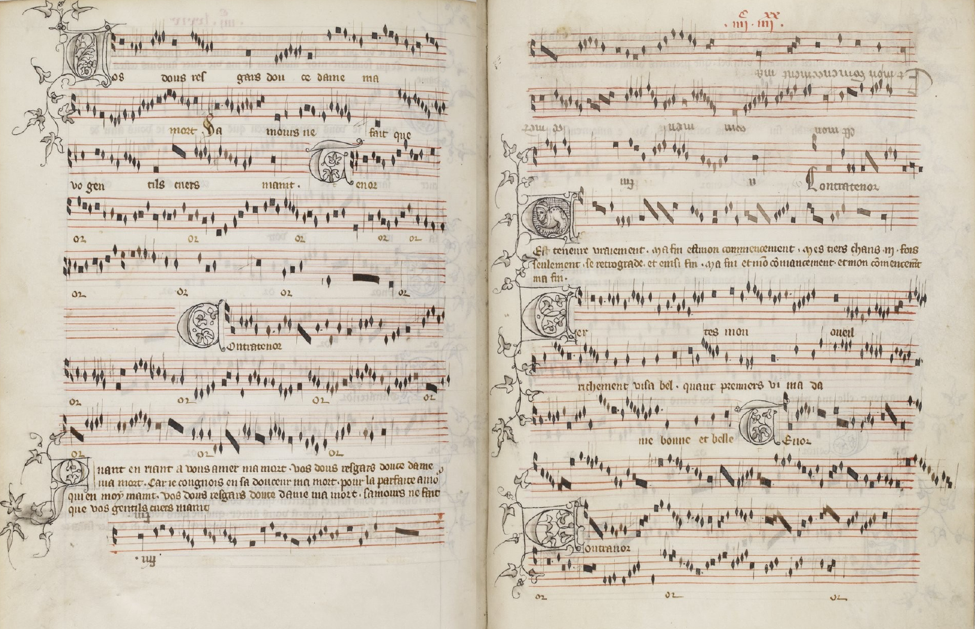Paris, Bibliothèque national de France MS A fonds fr. 1584. 479v-480r. Ma fin est mon commencement comprises the last system of the first page and continues for the top four systems of the second page.