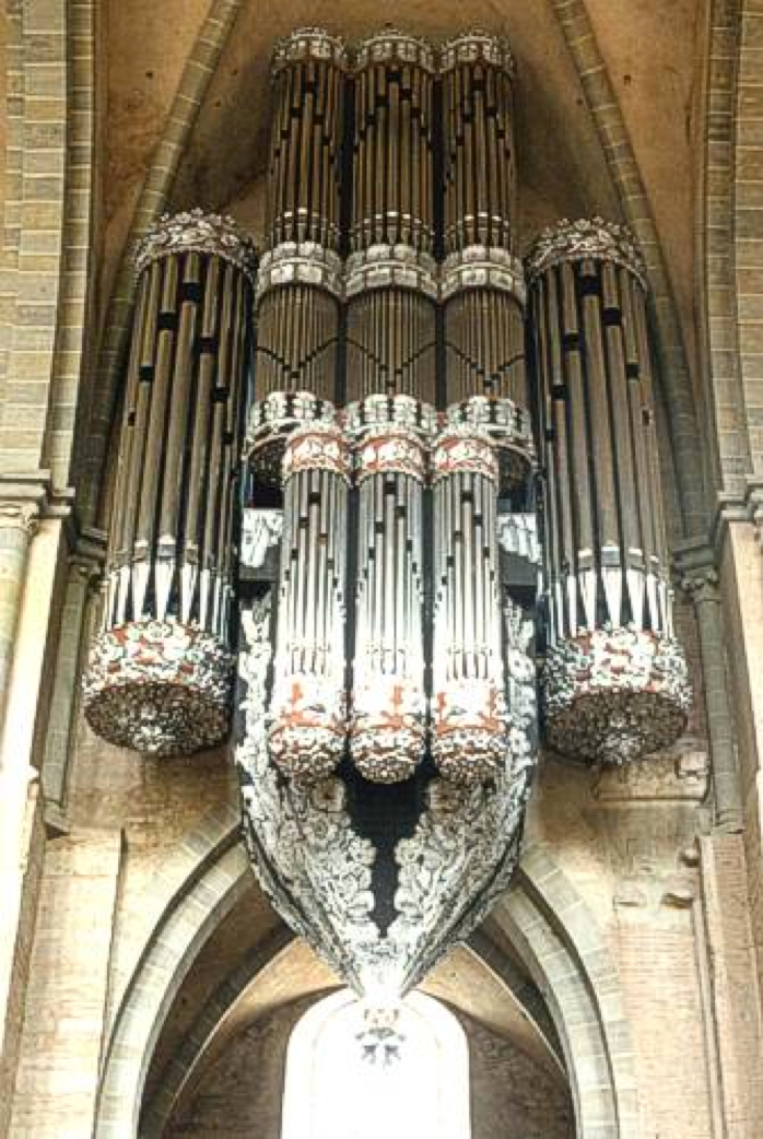 The organ of the Trier Cathedral in Trier, Germany. The organ played by Hermann Schroeder.