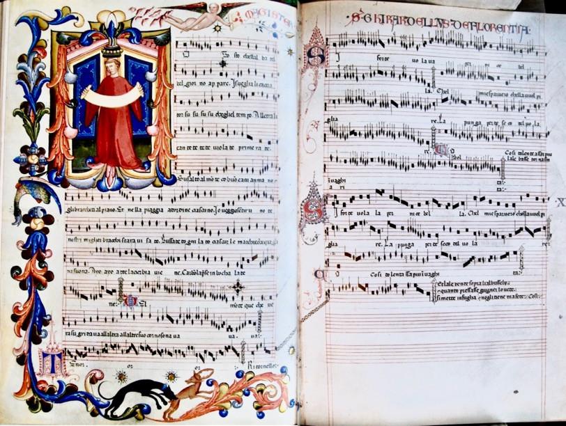 "Tosto che l'alba - Biblioteca Medicea-Laurenziana [I-Fl],MS Mediceo Palatino 87 ""Codex Squarcialupi"", no. 40 fol 25v-26r."