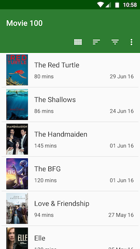 Movie 100 list screen
