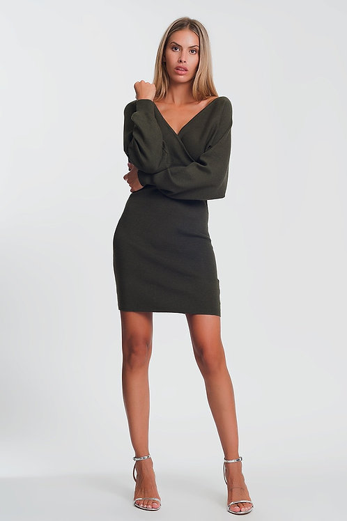 V Neck Knitted Green Dress With Volume Sleeve