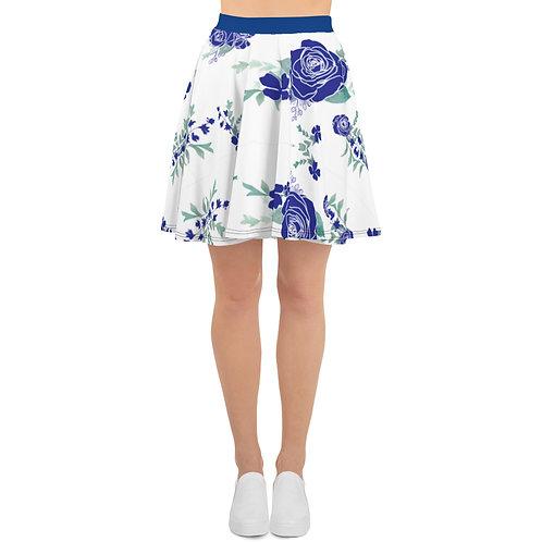 Navy Blue Floral Print Skirt