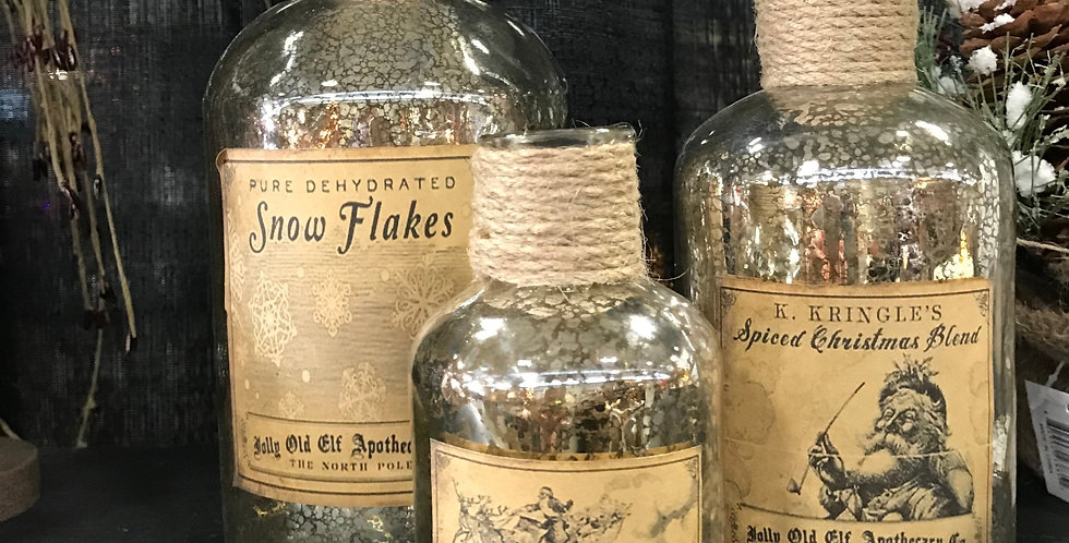 Snow Flakes Vintage Look Bottle