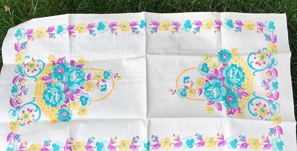 Vintage Flower Basket Tea Towel Unused