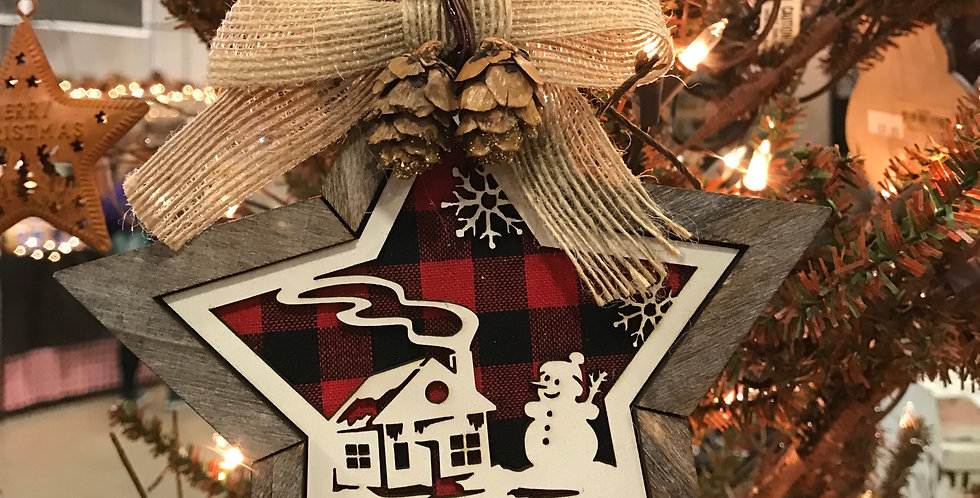 Wooden Red/Black Plaid Snowman/House Star Ornament