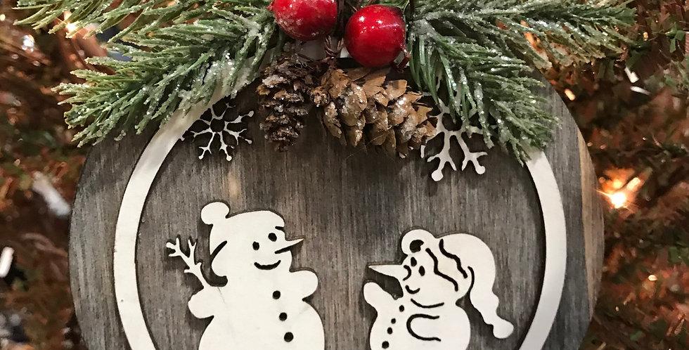 Round Wooden Snowman Scene Ornament