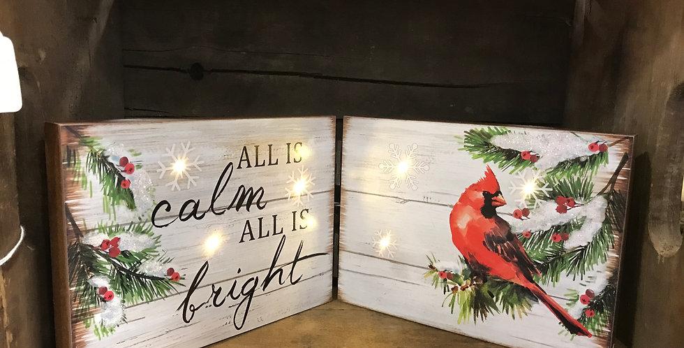 All Is Calm Cardinal w/Led Lights