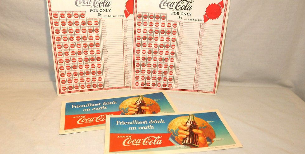 Coca Cola Advertising 2 Game punch cards and 2 blotters '1956' NOS