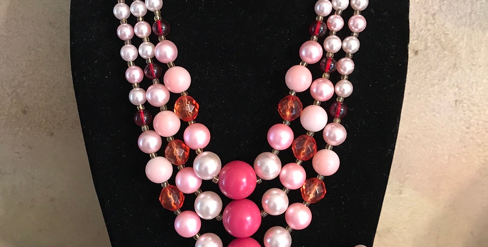 Pink 3 Strand Necklace and Earrings