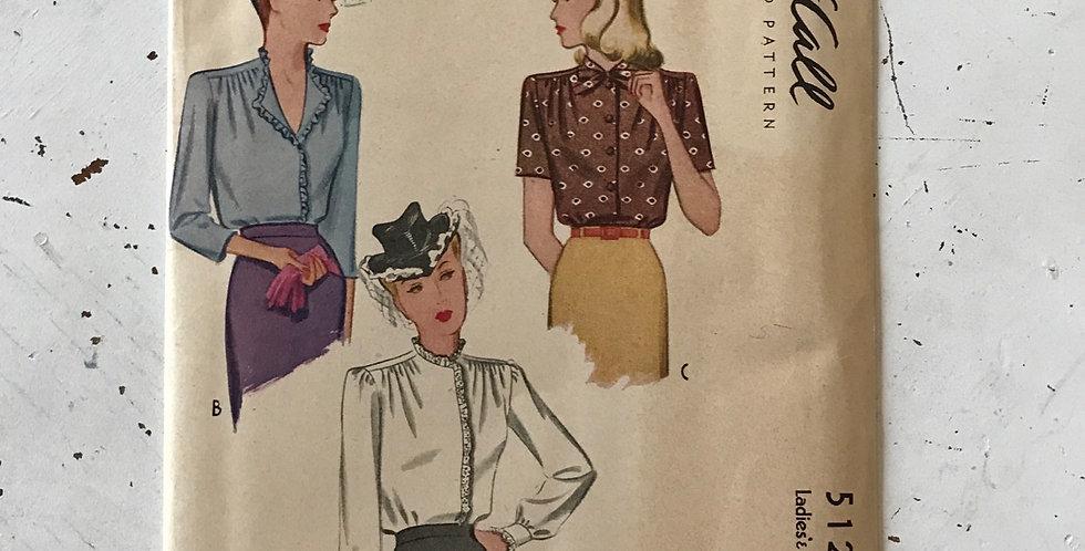 40's McCall Blouse Pattern Unused