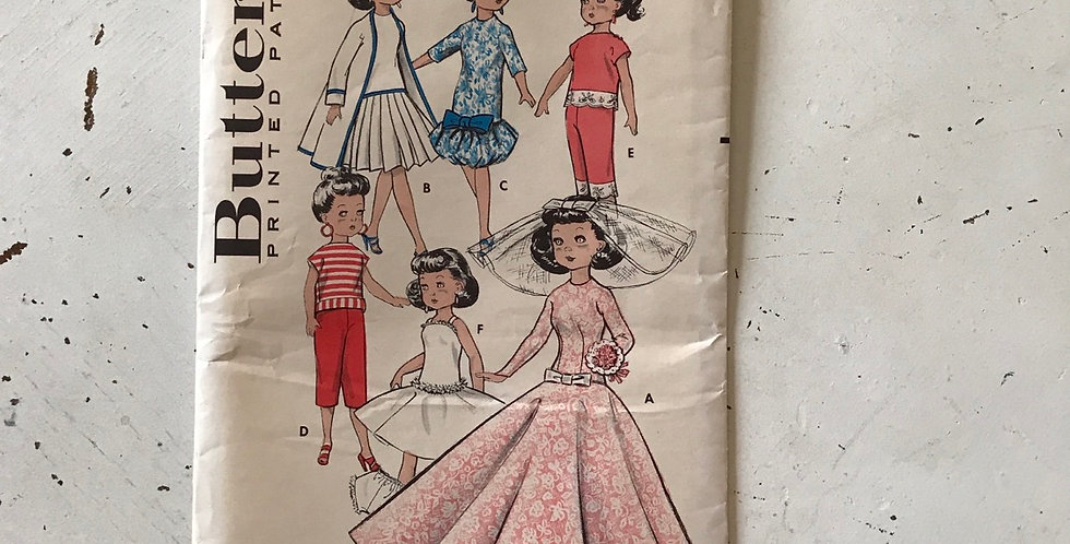 """Butterick Vintage Doll Clothes Pattern 10 1/2"""""""