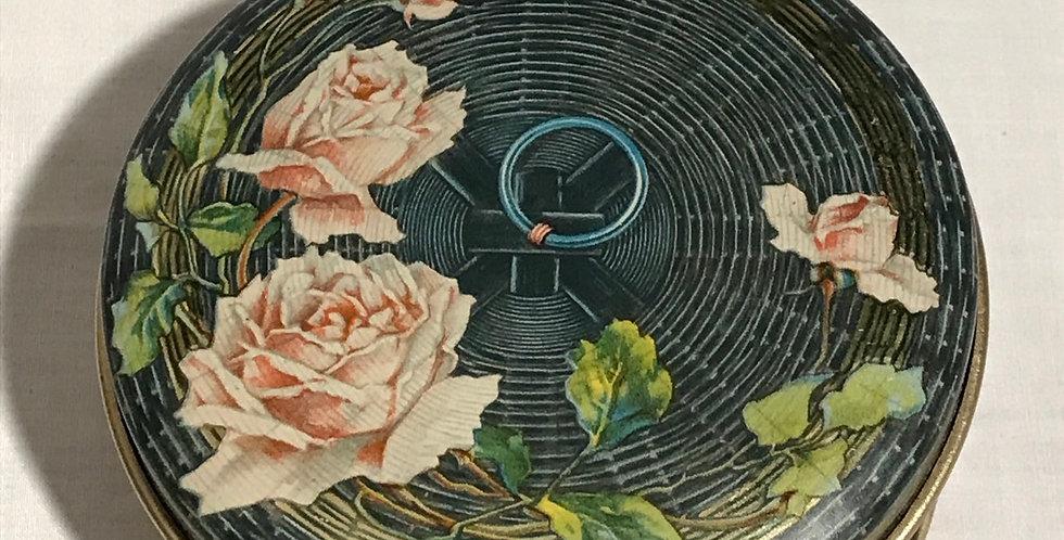 Tindeco Vintage Roses Basketweave Tin