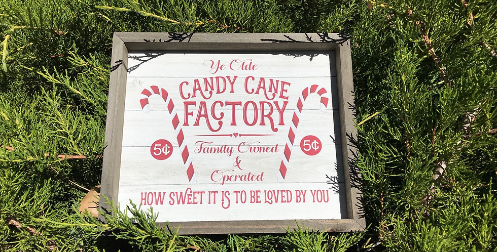 Ye  Olde Candy Cane Factory Box Sign