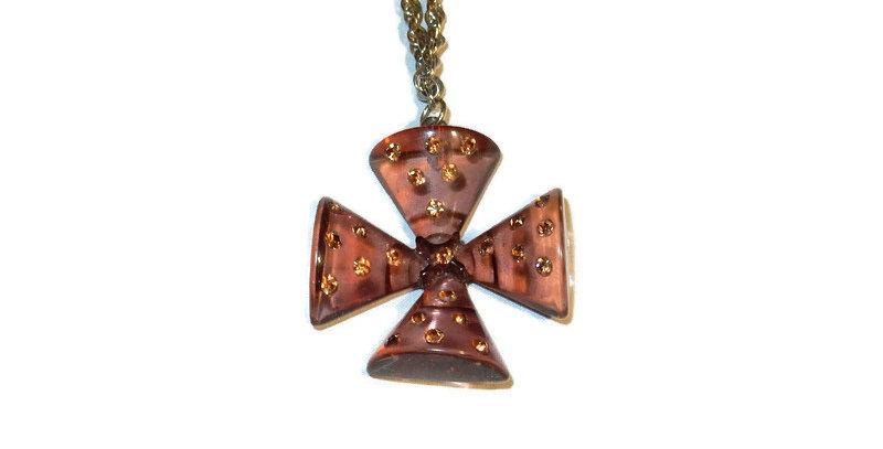 Lucite Maltese Cross and Rhinestone Necklace