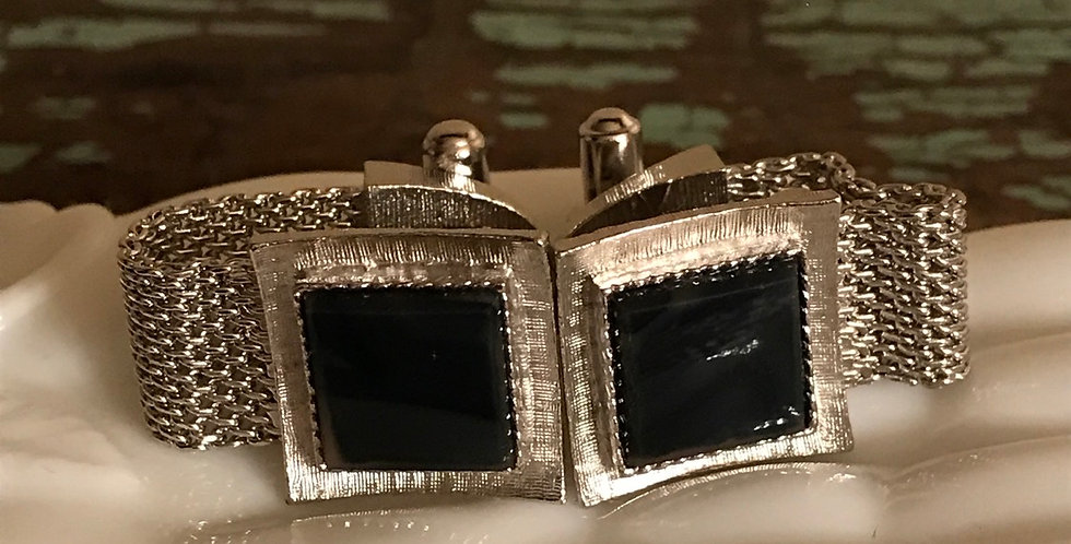 Vintage Mesh and Stone Cuff Links
