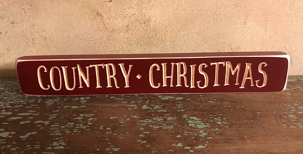 Country Christmas Carved Sign
