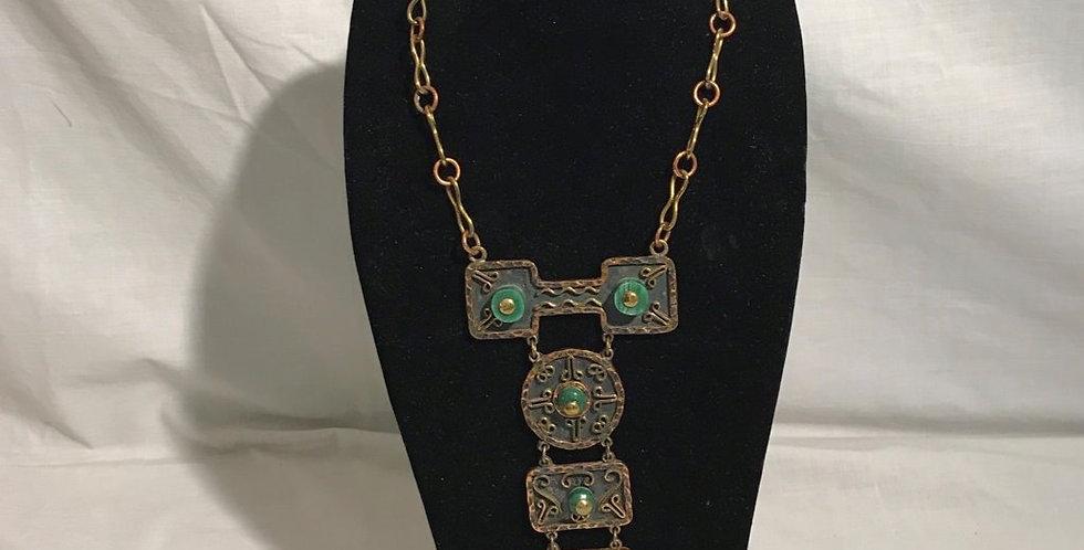 Mayan Design Necklace Copper Mexico