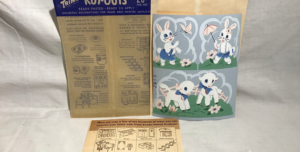 Trimz Kut-outs Decal Mint NOS Bunnies Lambs
