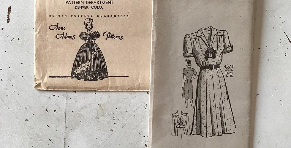 Anne Adams 40's Dress Pattern FF