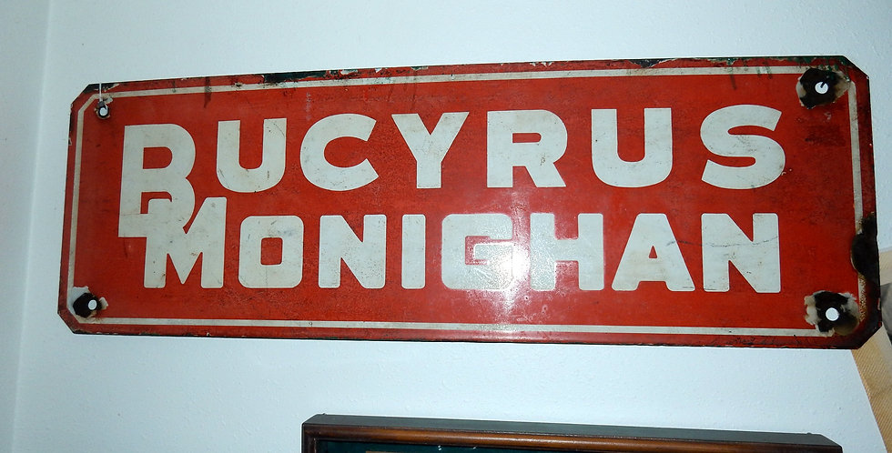 """Old Bucyrus Monighan Porcelain Sign 36"""" x 12"""""""