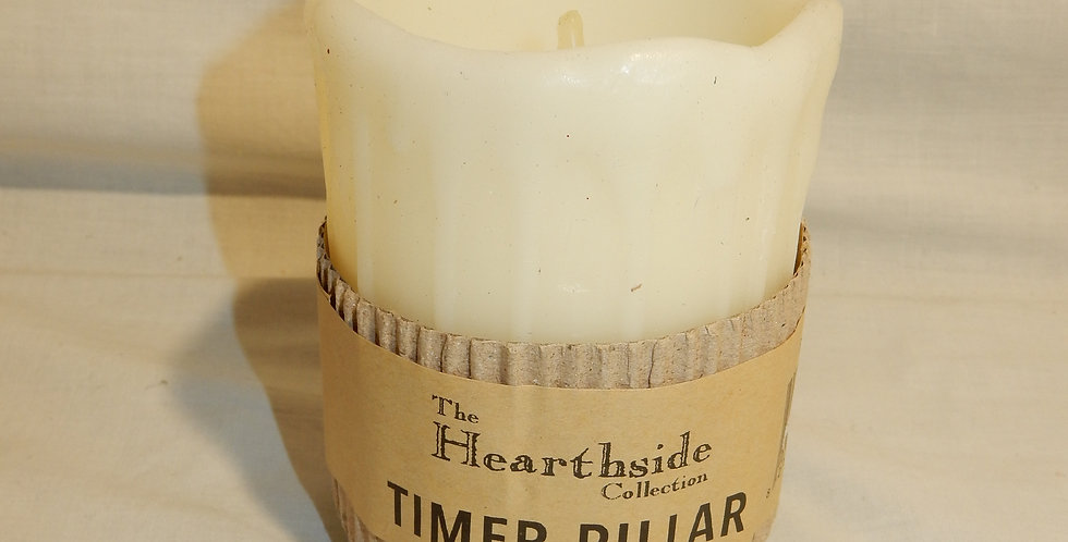 "4"" Ivory Drip Timer Pillar Candle Battery Operated"
