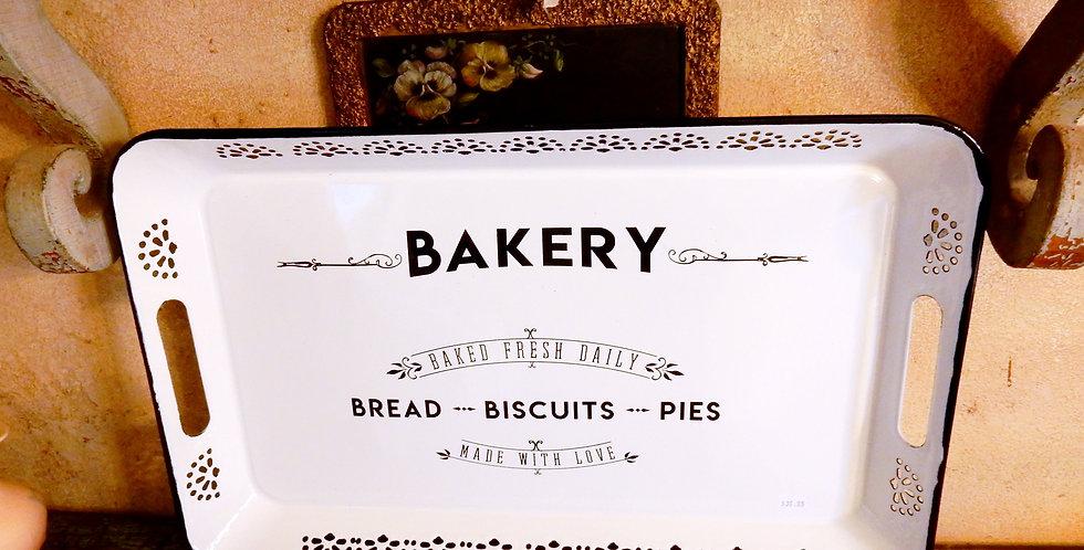 Vintage Style Enamelware Bakery Tray Farmhouse Chic