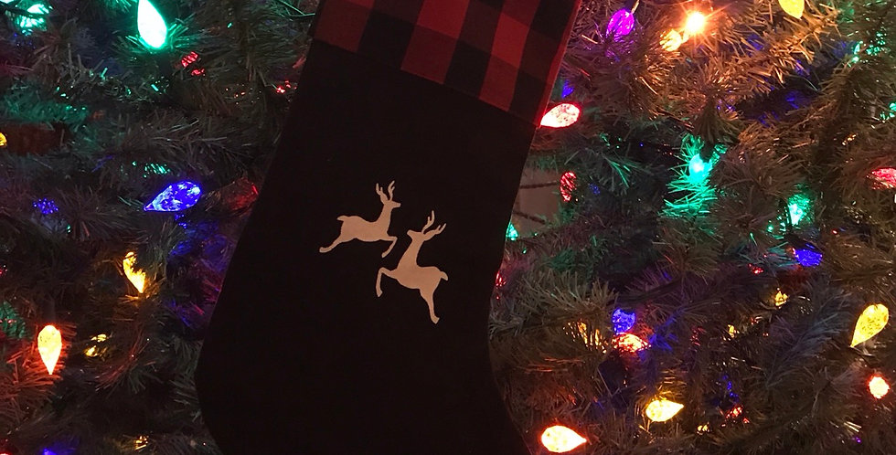 Buffalo Check Stocking with Reindeer